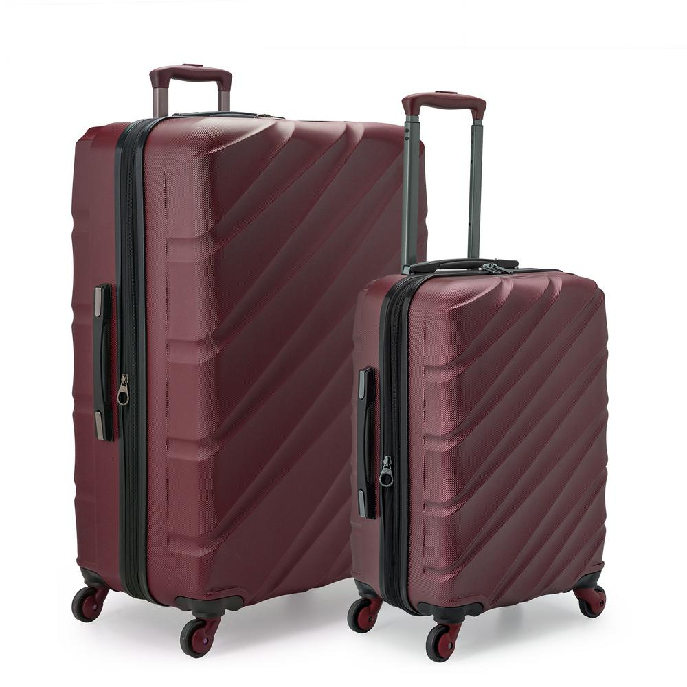 U.S. Traveler U.S. Traveler Gilmore 2-Piece Burgundy Expandable Hardside 4-Wheel Spinner Luggage Set with Push-Button Handle System, Red