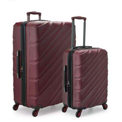 Gilmore 2-Piece Burgundy Expandable Hardside 4-Wheel Spinner Luggage Set with Push-Button Handle System