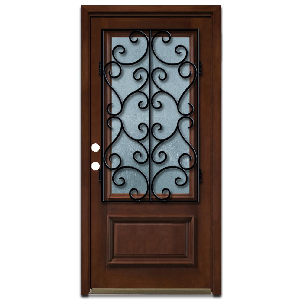 Steves & Sons 36 in. x 80 in. Decorative Iron Grille 3/4- Lite Stained Mahogany Wood Prehung Front Door