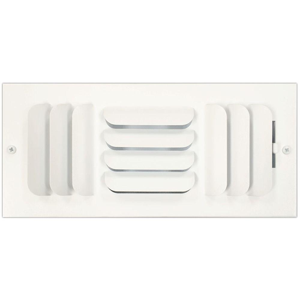 SPEEDI-GRILLE 10 in. x 4 in. Ceiling or Wall Register with Curved 3-Way Deflection, White