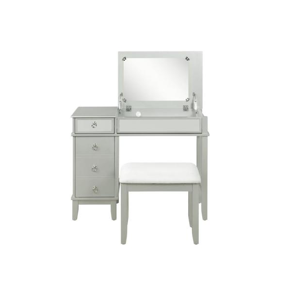 Linon Home Decor Eva Silver With Mirror Accents Vanity Set With Upholstered Stool Thd02973 The Home Depot