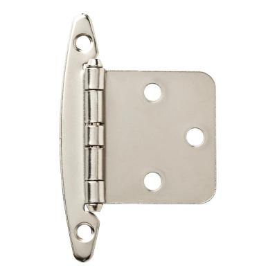 Satin Nickel Overlay Cabinet Hinge without Spring (1-Pair)