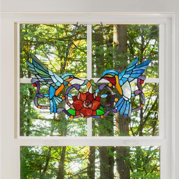River of Goods Multi-Colored Stained Glass Hummingbird Floral Window Panel 11880