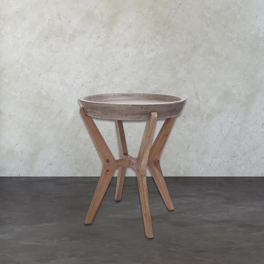 Titan Lighting Tonga Waxed Concrete And Silver Side Table