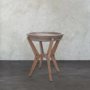 Tonga Waxed Concrete and Silver Side Table