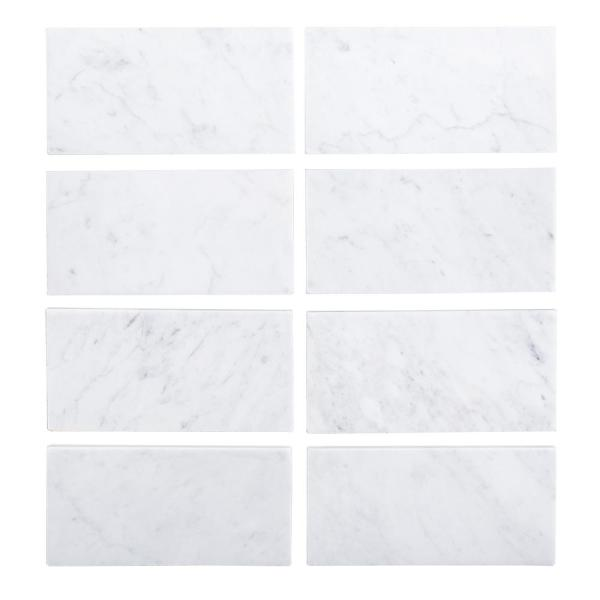 Jeff Lewis Italian White Carrara 3 In X 6 In Honed Marble Wall And Floor Tile 1 Sq Ft Pack 98450 The Home Depot