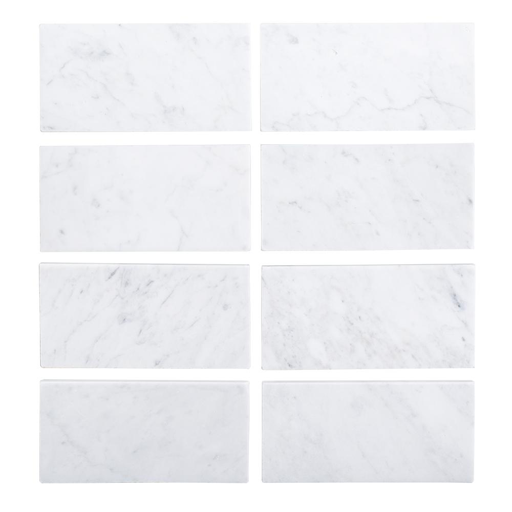 Jeff Lewis 3 in. x 6 in. Italian White Carrara Honed Marble Field ...