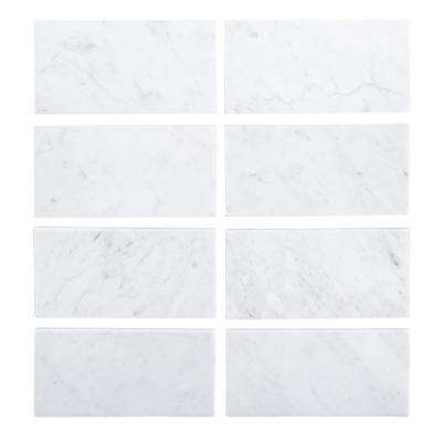 3 in. x 6 in. Italian White Carrara Honed Marble Field Wall Tile (8-pieces/pack)