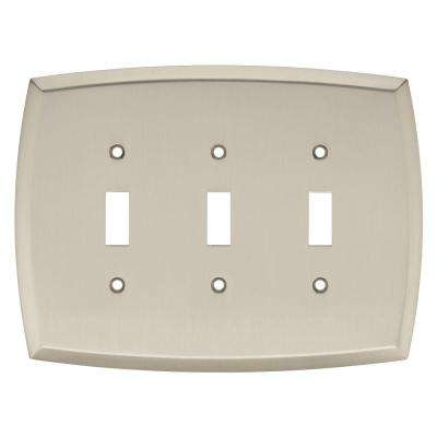 Amherst Decorative Triple Light Switch Cover, Satin Nickel