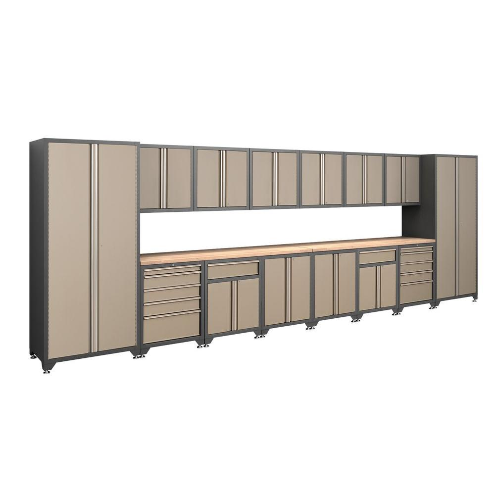NewAge Products Pro Series 83 in. H x 240 in. W x 24 in. D Welded Steel Garage Cabinet Set in Taupe (16-Piece)