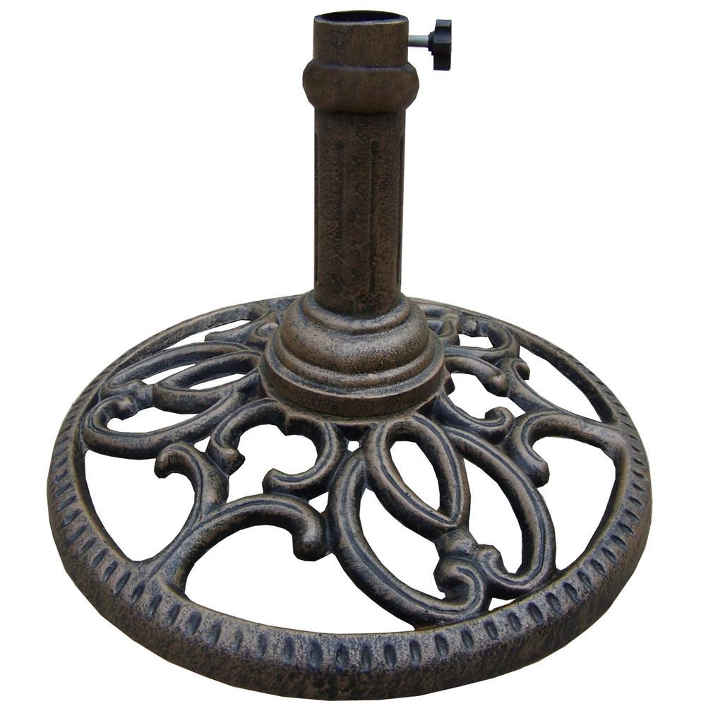 Round Patio Umbrella Base In Antique Bronze