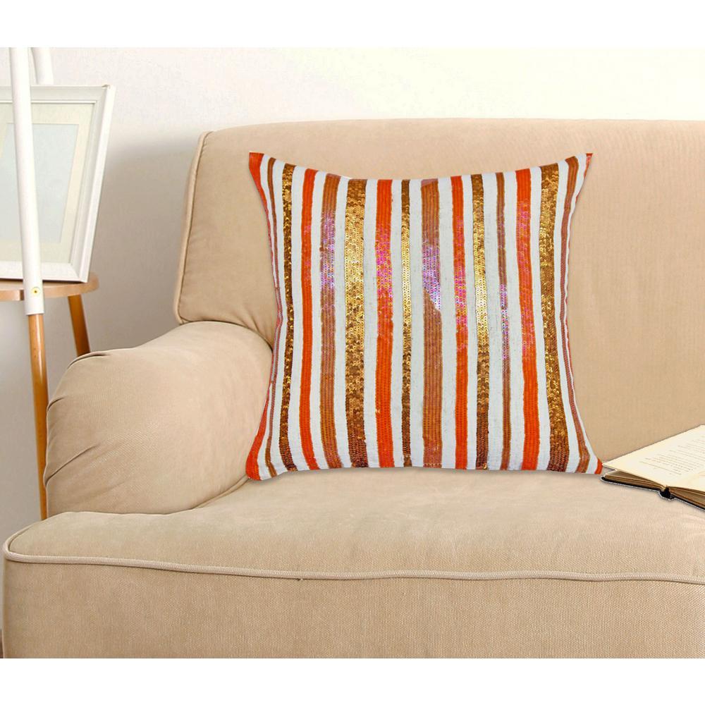A1HC Stripe Opulence Pillow 100% Multi-Color Cotton Decorative Pillow