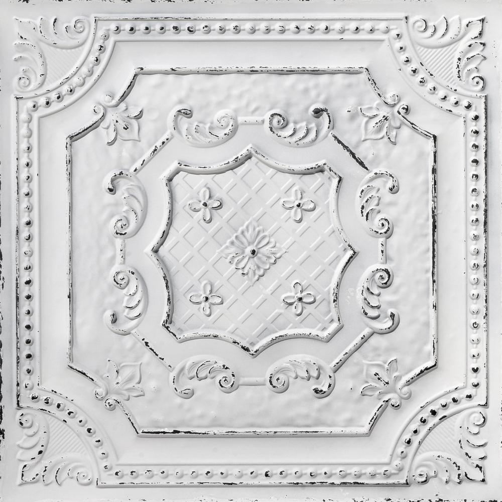From Plain To Beautiful In Hours Elizabethan Shield 2 ft. x 2 ft. PVC Glue-up or Lay-in Ceiling Tile in Old Black White