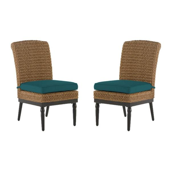 Camden Light Brown Wicker Outdoor Patio Armless Dining Chair with Sunbrella Peacock Blue-Green Cushions (2-Pack)