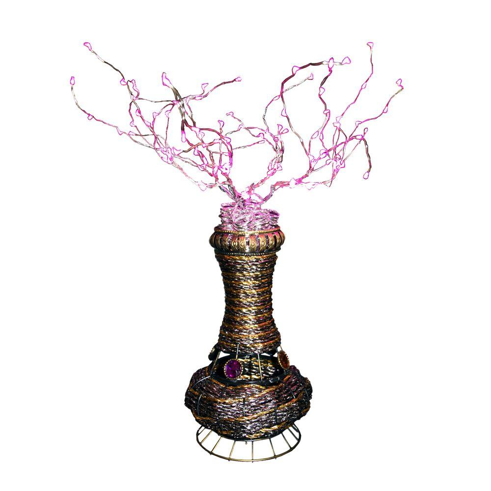 Ore international 20 in h copper tree wire table lamp with pink led h copper tree wire table lamp with pink led greentooth Choice Image