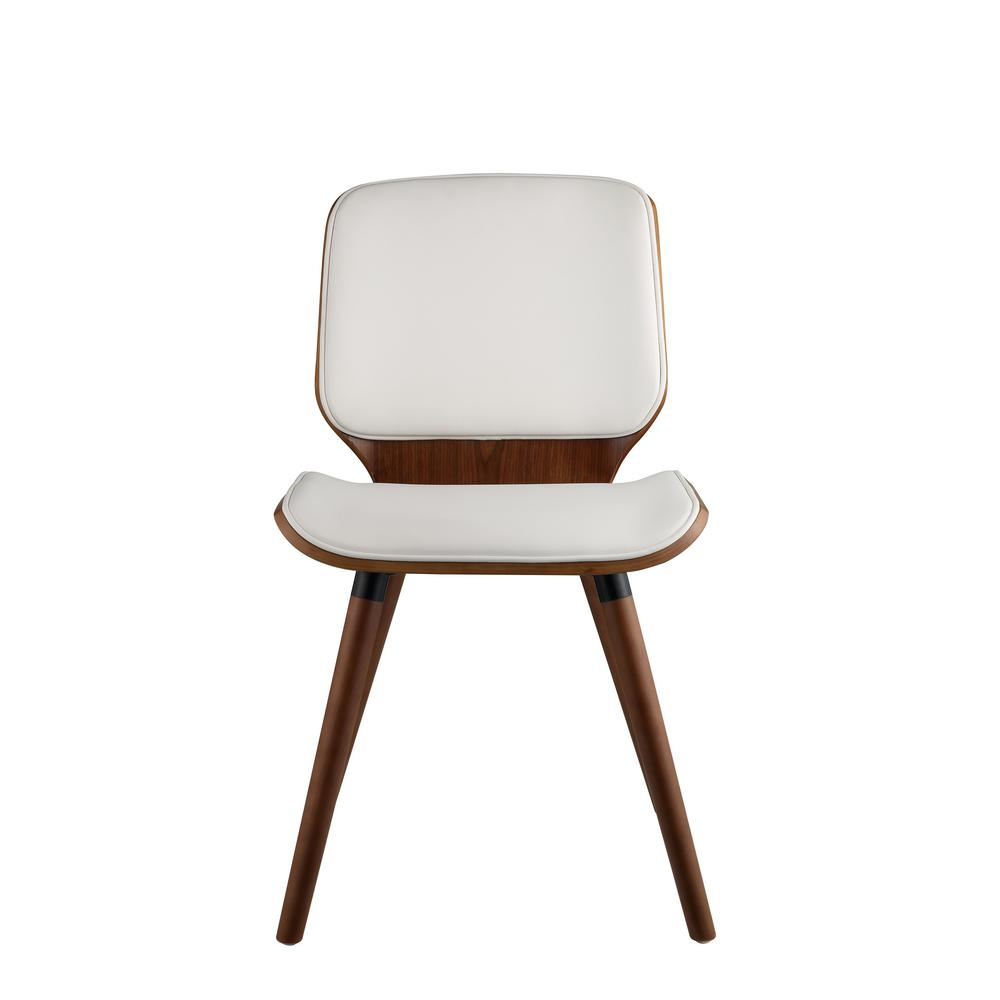 f309dae7a5a8 Acme Furniture Nemesia White Leatherette and Walnut Accent Chair ...