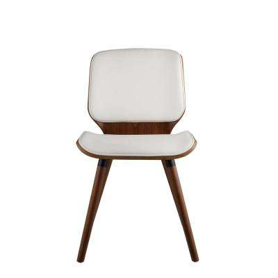 Nemesia White Leatherette and Walnut Accent Chair