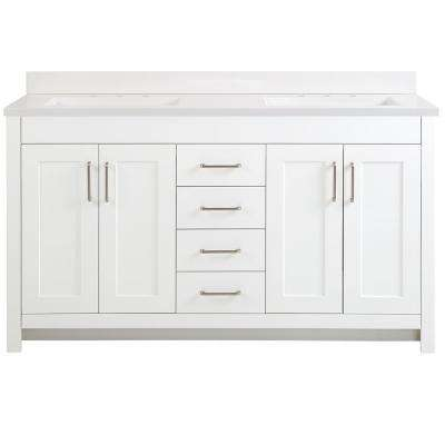 Westcourt 61 in. W x 22 in. D Bath Vanity in White with Cultured Marble Vanity Top in White with White Sinks