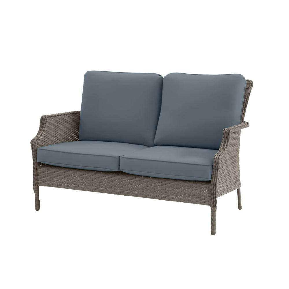 Hampton Bay Grayson Ash Gray Wicker Outdoor Patio Loveseat with Sunbrella Denim Blue Cushions was $329.0 now $263.2 (20.0% off)