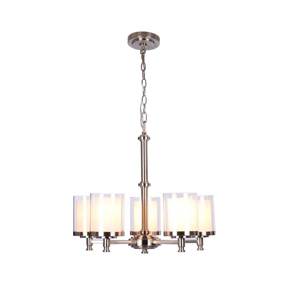 Hampton bay burbank 5 light brushed nickel chandelier with dual hampton bay burbank 5 light brushed nickel chandelier with dual glass shades mozeypictures Images