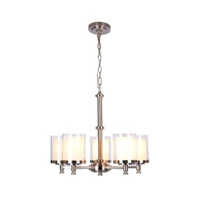 Burbank 5-Light Brushed Nickel Chandelier with Dual Glass Shades