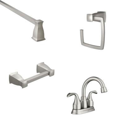 Idora 4 in. Centerset 2-Handle Bath Faucet with 3-Piece Hardware Set in Spot Resist Brushed Nickel (18 in. Towel Bar)
