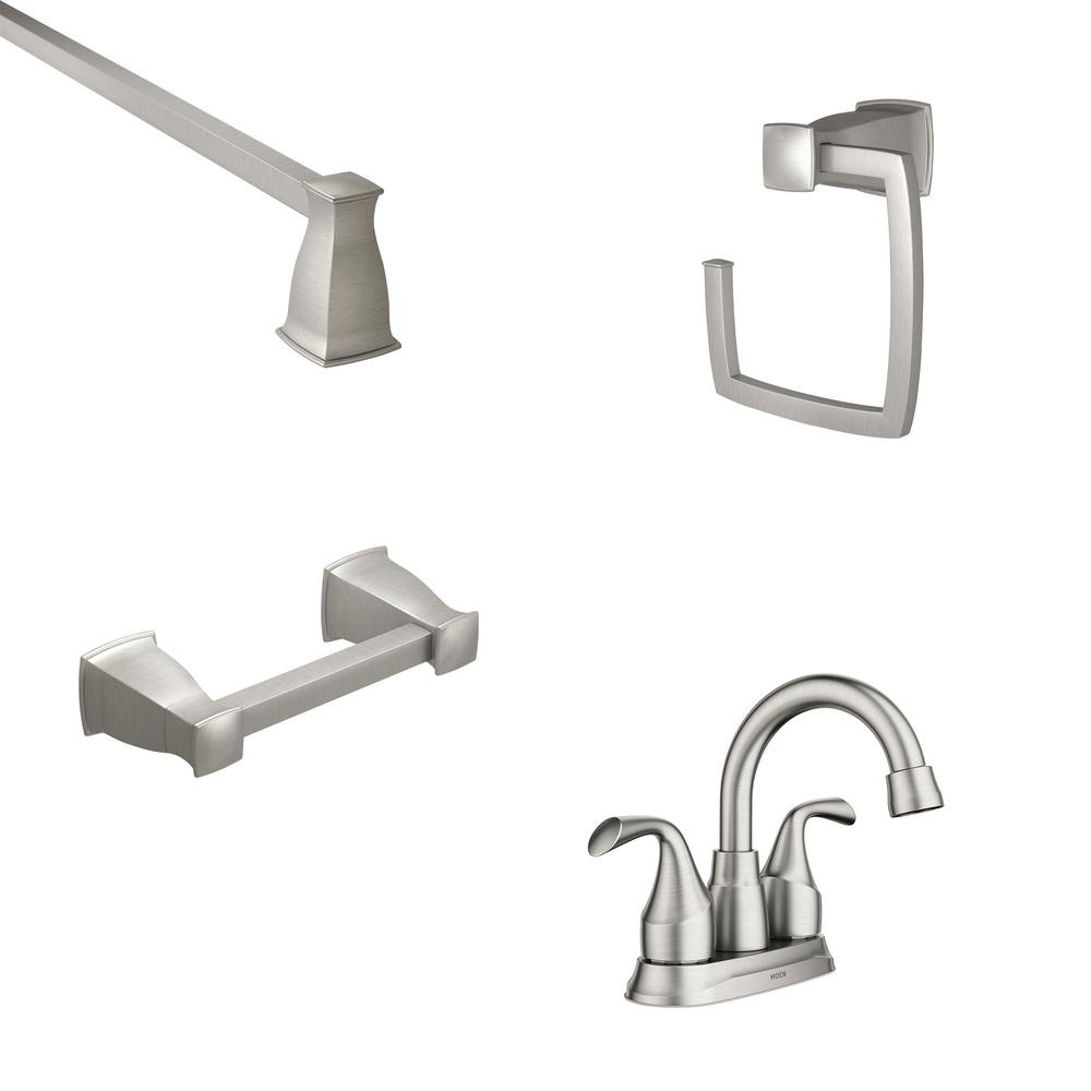 MOEN Idora 4 in. Centerset 2-Handle Bathroom Faucet with 3-Piece Bath Hardware Set in Brushed Nickel