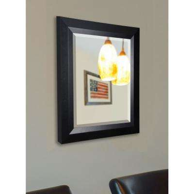 29.5 in. x 35.5 in. Jovie Jane Solid Black Angle Rounded Beveled Decorative Wall Mirror