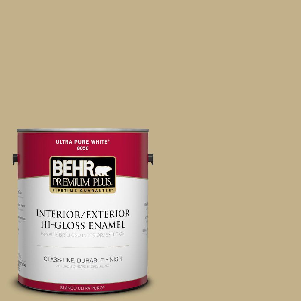 1-gal. #380F-5 Harmonic Tan Hi-Gloss Enamel Interior/Exterior Paint