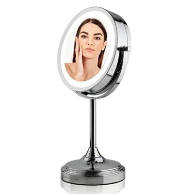 Polished Chrome Dual-Sided Magnifying LED Lighted Tabletop Makeup Mirror with 1x or 7x Magnification