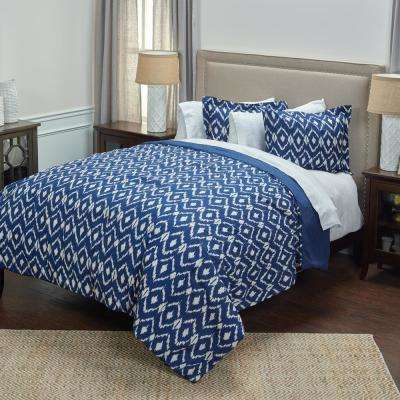 Natural/Blue Ikat Pattern 3-Piece Queen Bed Set