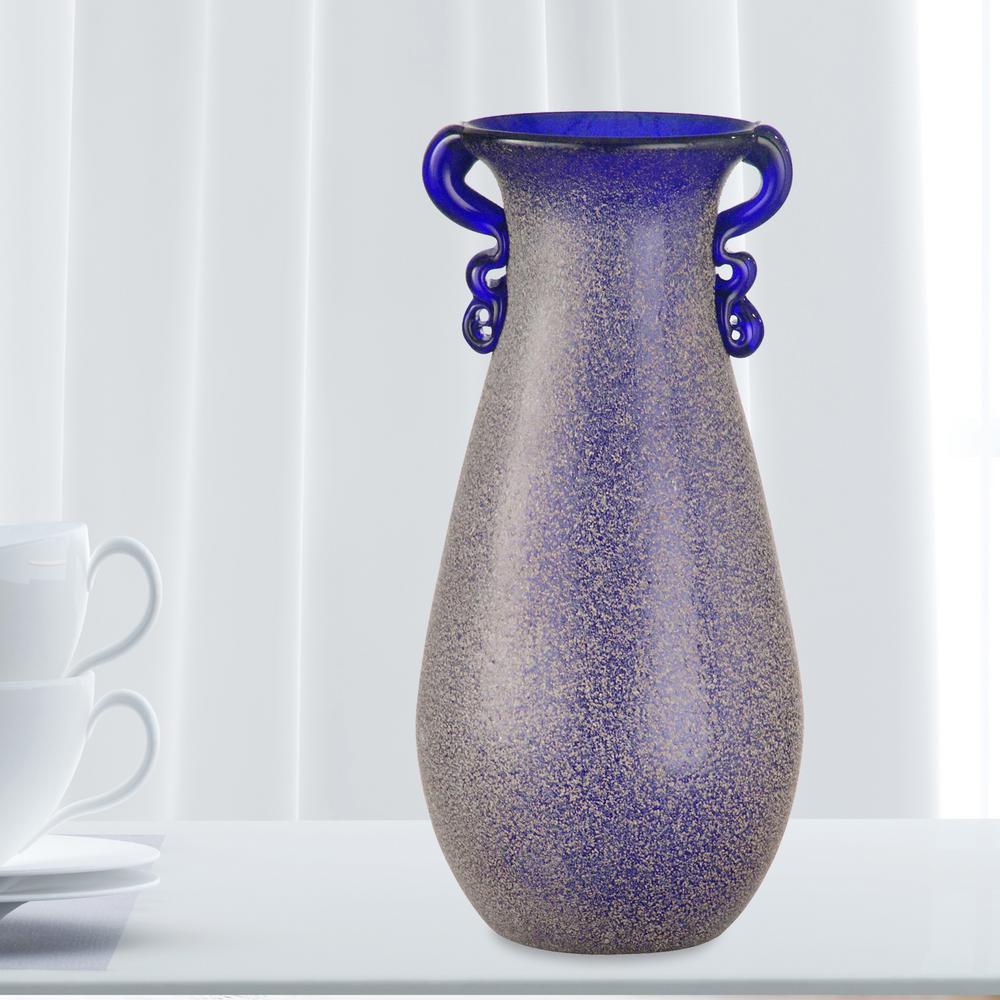 9 in. Morgana 2-Piece Purple Hand Blown Art Glass Vase Set