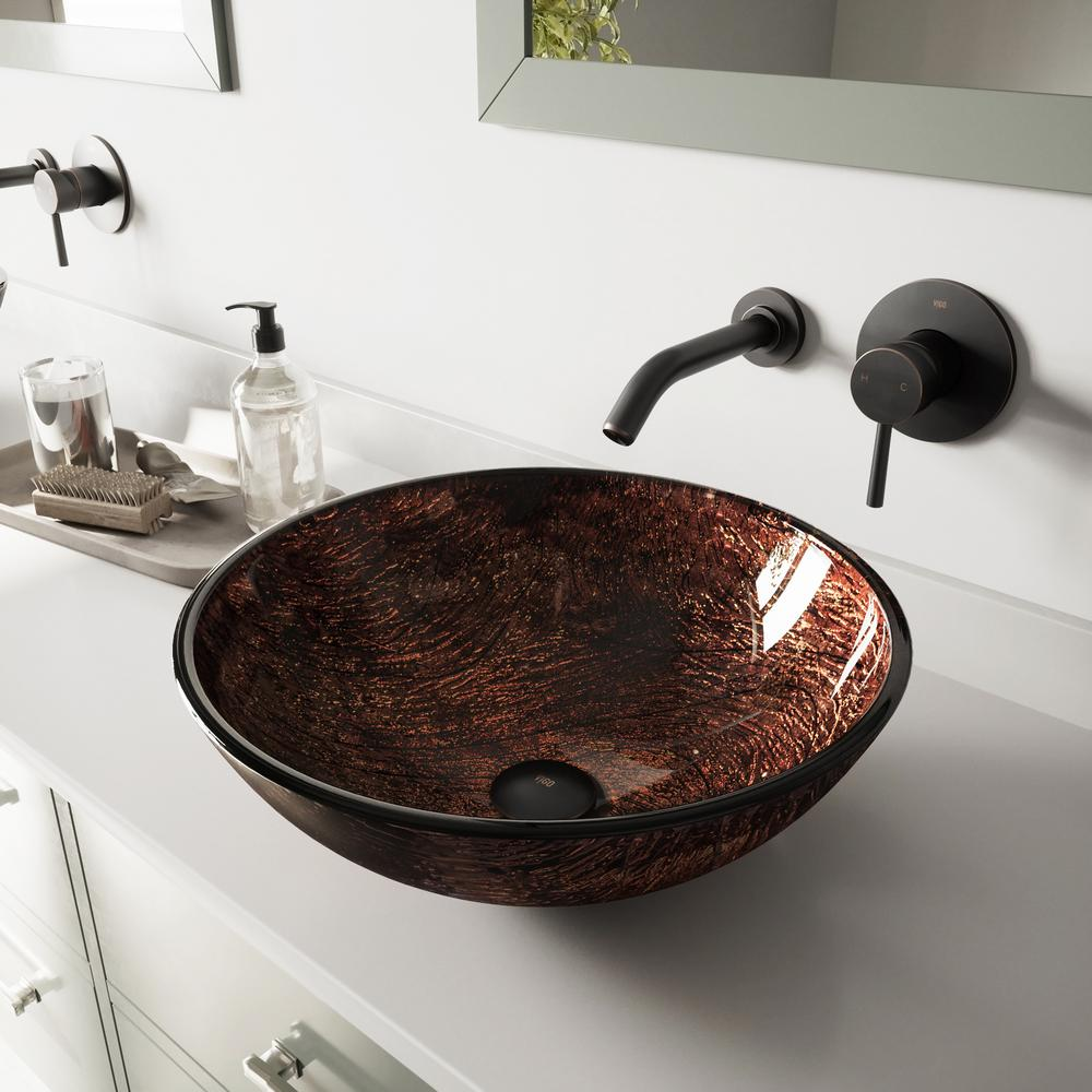 VIGO Glass Vessel Sink in Kenyan Twilight with Olus Wall-Mount Faucet Set in Antique Rubbed Bronze