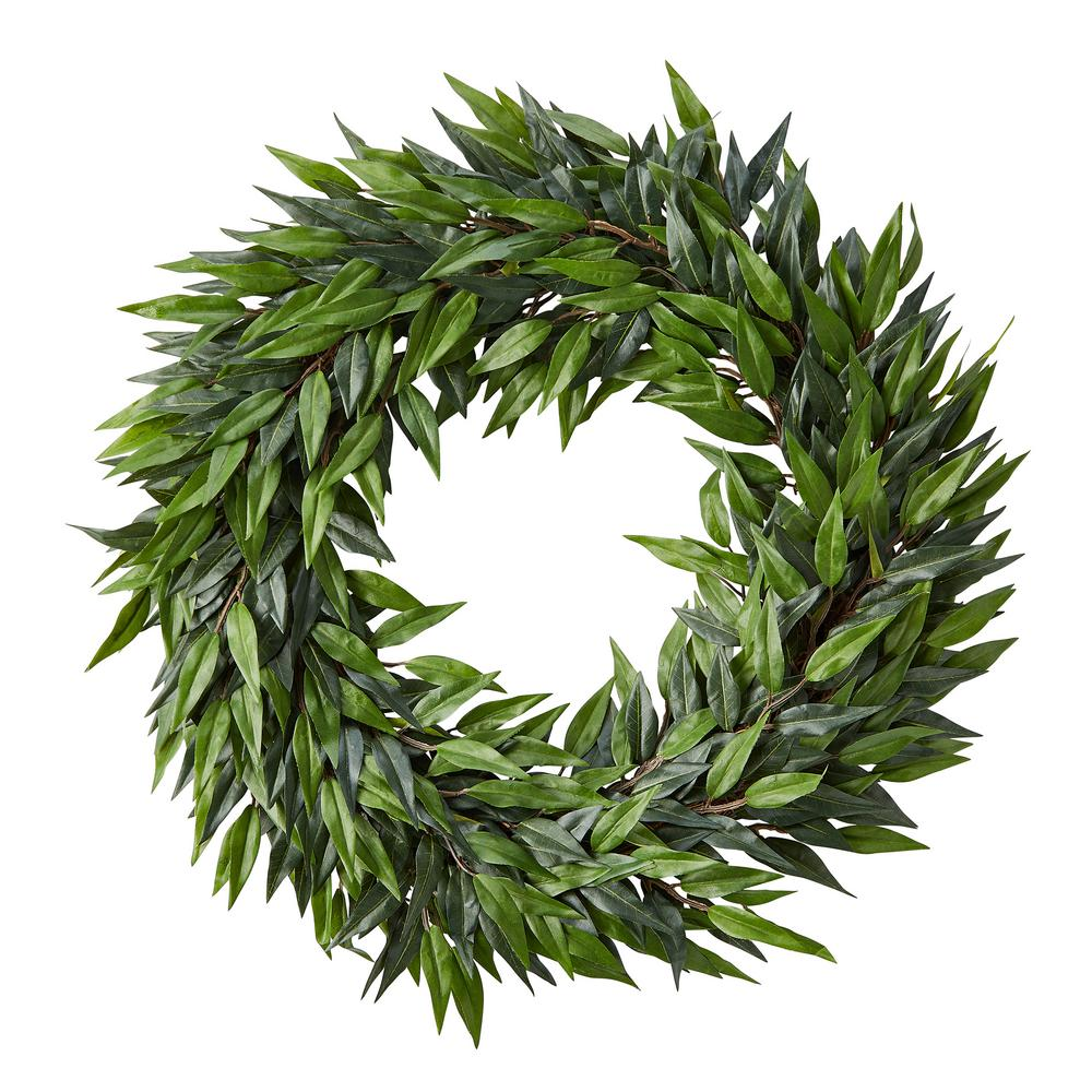 Pure Garden 22 In Artificial Ficus Microphylla Leaf Wreath Hw1500239 The Home Depot