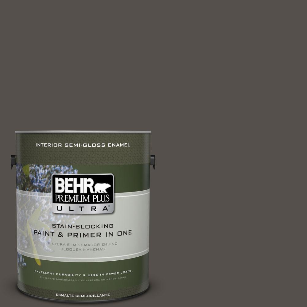 1-gal. #790D-7 Black Bean Semi-Gloss Enamel Interior Paint