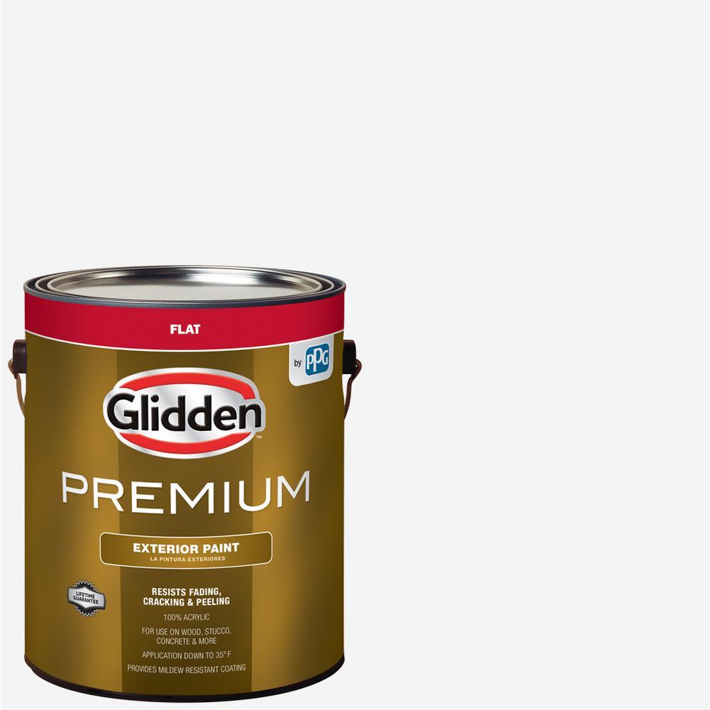 Acrylic Vs Latex Paint >> Glidden Premium 1 Gal Flat Base 1 White Exterior Latex Paint