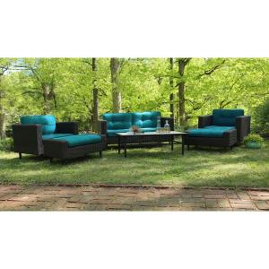 AE Outdoor Wright 6-Piece All-Weather Wicker Patio Deep Seating Set with Sunbrella Blue Cushions by AE Outdoor
