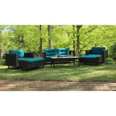 Wright 6 Piece All Weather Wicker Patio Deep Seating Set With Sunbrella  Blue Cushions