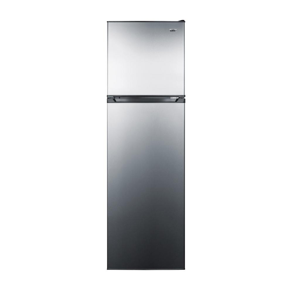 Summit Appliance 22 in. 8.9 cu. ft. Top Freezer Refrigerator in Stainless Steel, Counter Depth, Silver/Black SUMMIT's thin-line collection of frost-free refrigerator-freezers brings quality and convenience to even the smallest kitchen space. The FF923PL comes in a uniquely slim 21-1/4 with and counter depth fit. The stainless-steel doors feature a gentle curve for a professional look, with a smooth black cabinet designed to match any kitchen. The doors are user-reversible for added convenience. Inside, this unit features a full 8.9 cu. ft. storage capacity. The fresh food compartment includes adjustable glass shelves for spill-proof storage and easy cleaning, with a large humidity-controlled crisper and door racks for tall bottles. The large freezer section includes a removable glass shelf and two door racks for added convenience. With its unique size and user-friendly design, the FF923PL is a great choice for space-challenged kitchens with full storage needs. Color: Stainless steel/black.