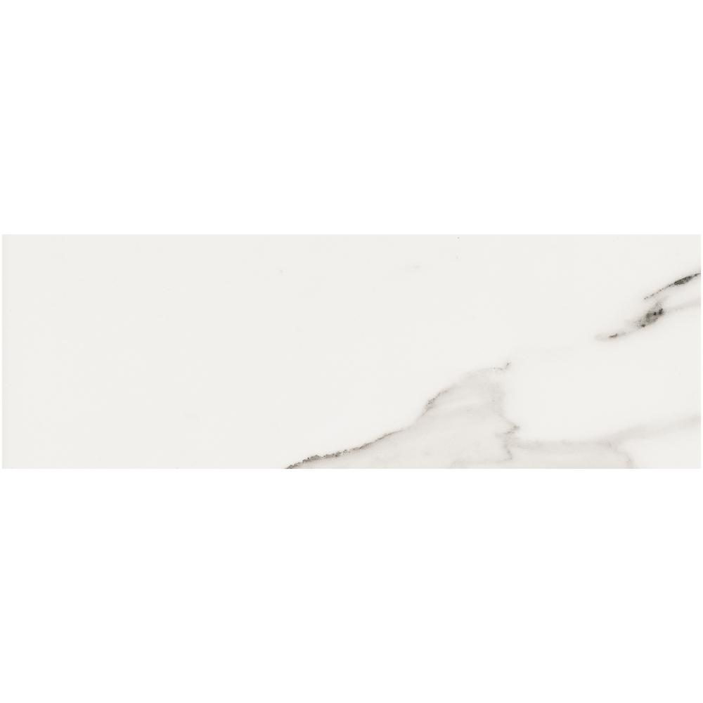 Belmar White 4 in. x 12 in. Ceramic Trim Wall Tile