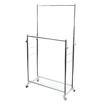 37 in. x 66 in. Chrome Double Rod Height Adjustable Garment Rack