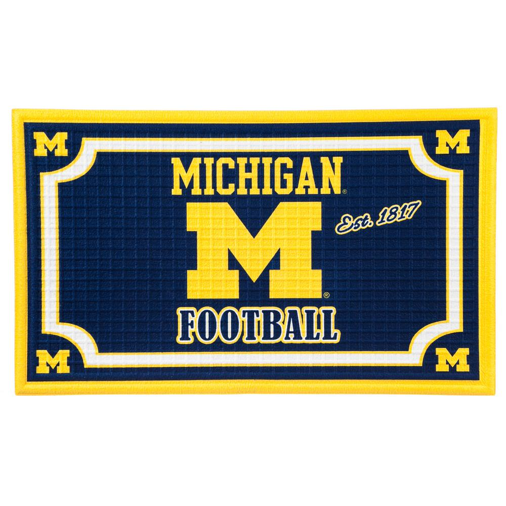 Evergreen University Of Michigan 18 In. X 30 In. Embossed Welcome Mat