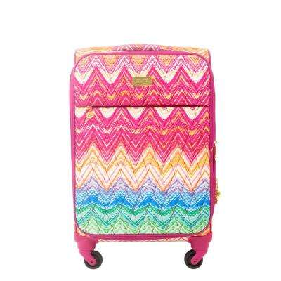Chevron 21 in. Purple Soft Sided Rolling Luggage Suitcase