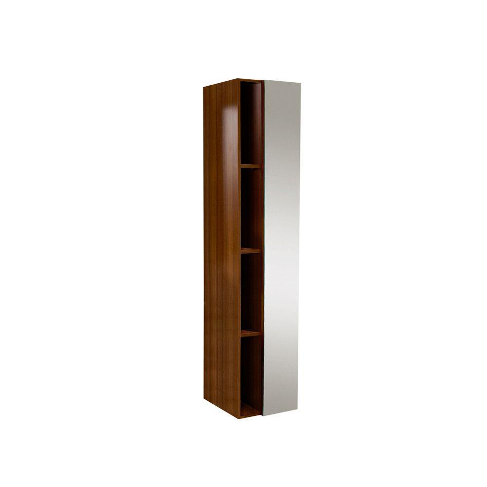 Fresca 15-3/4 in. W x 67 in. H x 12 in. D Bathroom Linen Storage Cabinet with Mirror in White