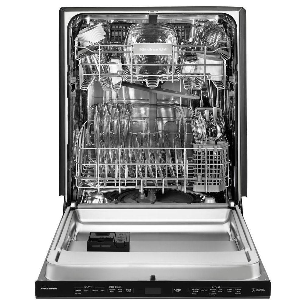KitchenAid Top Control Built-In Tall Tub Dishwasher in Black ...