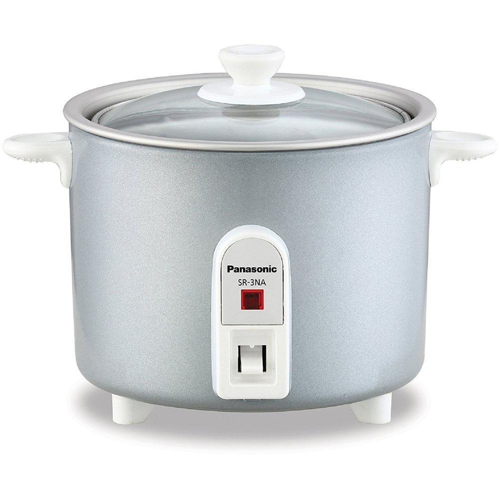 1.5 Cup Mini Silver Rice Cooker with Non-Stick Interior