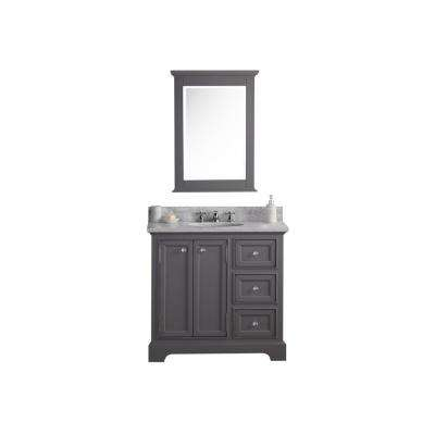 Derby 36 in. W x 34 in. H Bath Vanity  in Gray with Marble Vanity Top in Carrara White with White Basin and Mirror