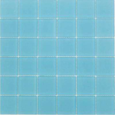 Contempo Turquoise 12 in. x 12 in. x 8 mm Frosted Glass Mosaic Floor and Wall Tile