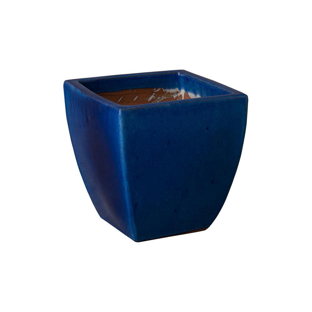 12 in. H Square Blue Ceramic Planter
