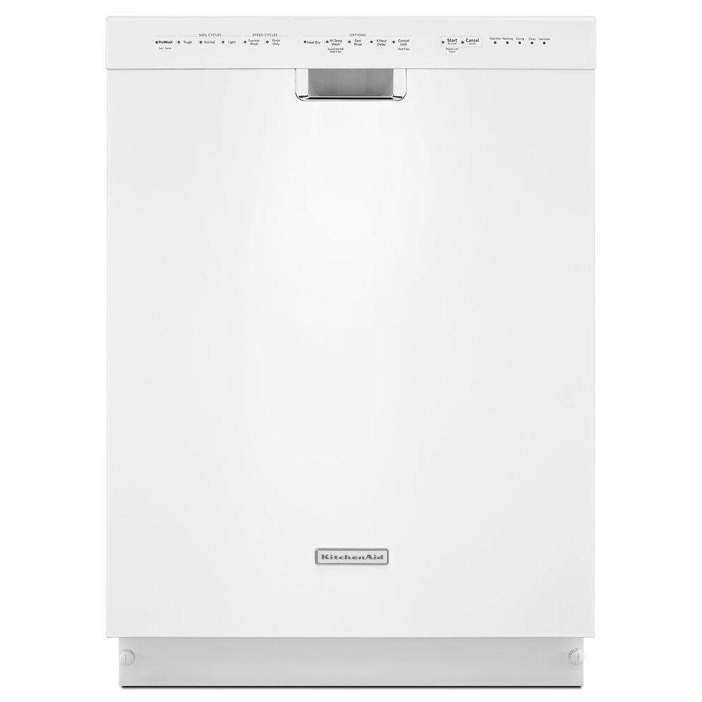 Front Control Dishwasher in White with Stainless Steel Tub, ProWash Cycle,
